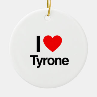 i love tyrone Double-Sided ceramic round christmas ornament