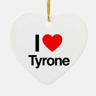 i love tyrone Double-Sided heart ceramic christmas ornament