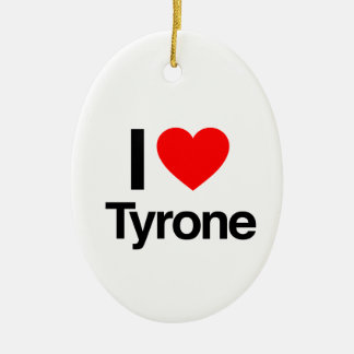 i love tyrone Double-Sided oval ceramic christmas ornament