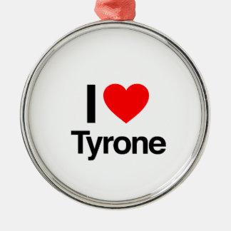 i love tyrone round metal christmas ornament
