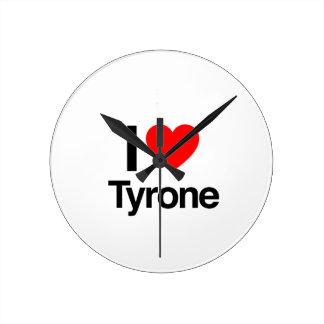 i love tyrone round wall clocks