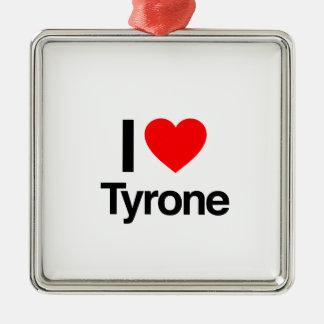 i love tyrone square metal christmas ornament