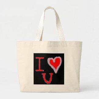 I LOVE U (2) CANVAS BAGS