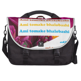 I LOVE U ; Bengali Ami tomake bhalobashi India Cal Laptop Messenger Bag