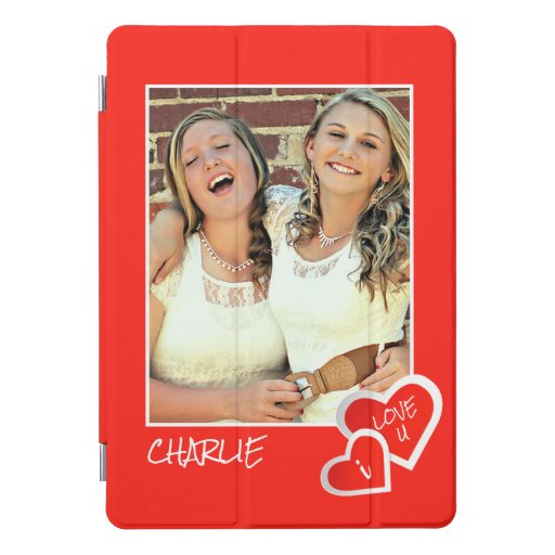 I Love U, Cute Hearts -  Custom Photo Personalized iPad Pro Cover