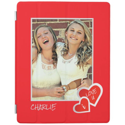 I Love U, Cute Hearts -  Custom Photo Personalized iPad Smart Cover