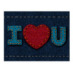 I Love U (Denim Hearts) Postcard