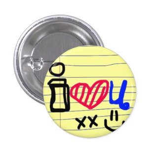 i love u doodle 1 inch round button