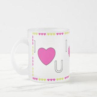 I love U Frosted Glass Coffee Mug