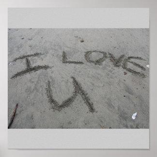 I Love U In The Sand Print
