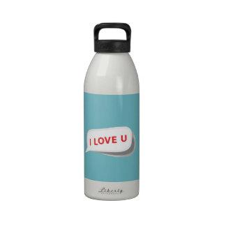 I Love U On Elegant Blue Curacao. Romantic Pattern Water Bottles