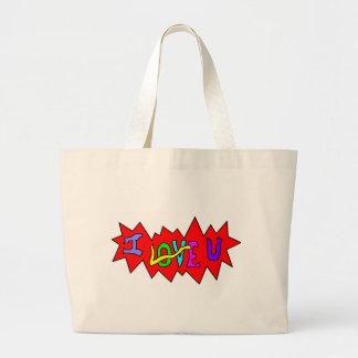 I Love U Shoulder Bag! Large Tote Bag