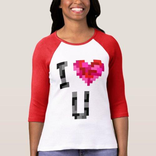 I Love U Tetromino Raglan T_Shirt