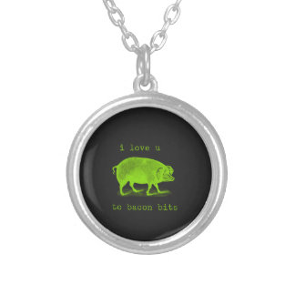I Love U to Bacon Bits Pig Funny Silver Plated Necklace