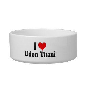 I Love Udon Thani, Thailand Cat Water Bowl