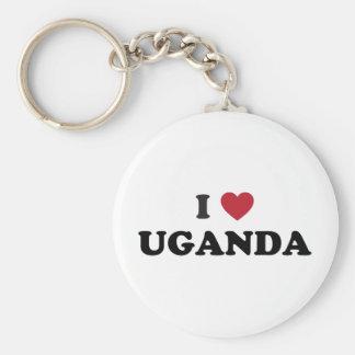 I Love Uganda Basic Round Button Keychain
