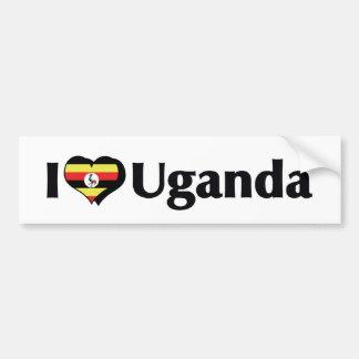 I Love Uganda Flag Bumper Sticker