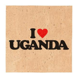 I LOVE UGANDA BEVERAGE COASTERS