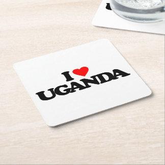 I LOVE UGANDA SQUARE PAPER COASTER