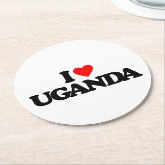 I LOVE UGANDA ROUND PAPER COASTER