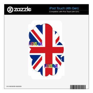 I LOVE UK DECALS FOR iPod TOUCH 4G