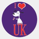 i love uk round stickers