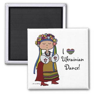 I Love Ukrainian Dance 2 Inch Square Magnet