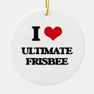 I Love Ultimate Frisbee Ceramic Ornament