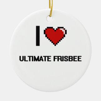 I Love Ultimate Frisbee Digital Retro Design Ceramic Ornament