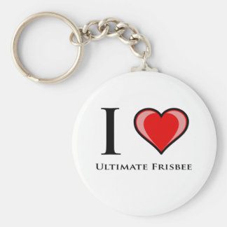 I Love Ultimate Frisbee Keychain
