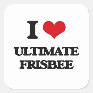 I Love Ultimate Frisbee Square Sticker