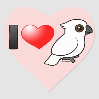I Love Umbrella Cockatoos Heart Sticker