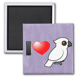 I Love Umbrella Cockatoos 2 Inch Square Magnet
