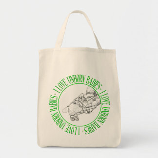 I love unborn babies grocery tote bag