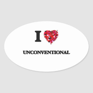 I love Unconventional Oval Sticker