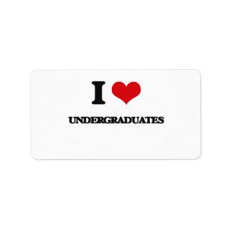 I love Undergraduates Address Label