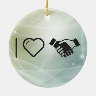 I Love Understanding Hands Double-Sided Ceramic Round Christmas Ornament