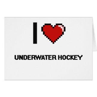 I Love Underwater Hockey Digital Retro Design Greeting Card