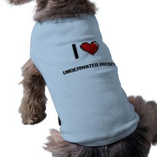 I Love Underwater Hockey Digital Retro Design Dog Tee Shirt