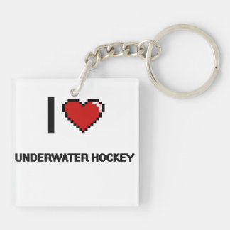 I Love Underwater Hockey Digital Retro Design Double-Sided Square Acrylic Keychain