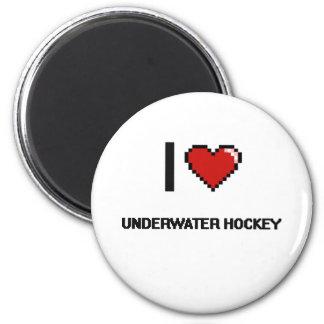 I Love Underwater Hockey Digital Retro Design 2 Inch Round Magnet