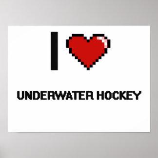 I Love Underwater Hockey Digital Retro Design Poster