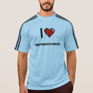 I Love Underwater Hockey Digital Retro Design T Shirts