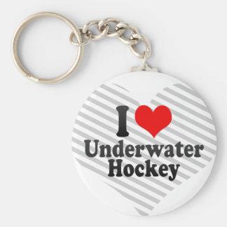 I love Underwater Hockey Basic Round Button Keychain
