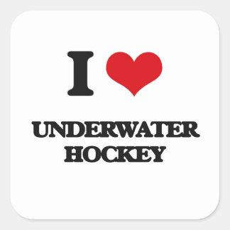 I Love Underwater Hockey Square Sticker