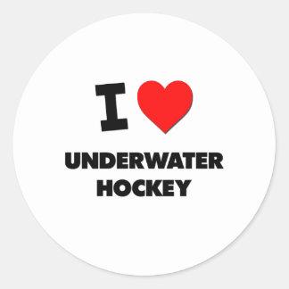 I Love Underwater Hockey Classic Round Sticker