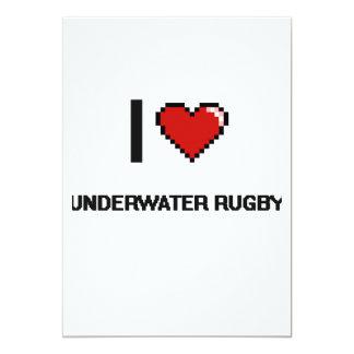 I Love Underwater Rugby Digital Retro Design 5x7 Paper Invitation Card