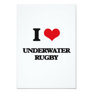 I Love Underwater Rugby 3.5x5 Paper Invitation Card