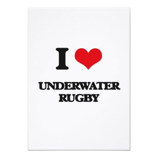 I Love Underwater Rugby 5x7 Paper Invitation Card