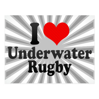 I love Underwater Rugby Postcards